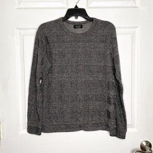 Zara Man Sweater Pullover Crewneck Black Plaid